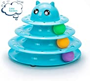 Mumoo Bear Cat Toy Roller 3 Layers Tower Tracks Roller with 3 Colorful Ball Interactive Kitten Fun Mental Phys