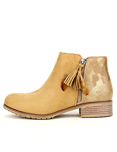 Sixth Peau Chaussures Sens Simili Caramel Cendriyon Femme Bottine SRqpf