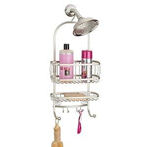 mDesign Organizador de ducha con baldas para baño y ganchos para colgar – Cesta de ducha sin taladro con ventosas y…