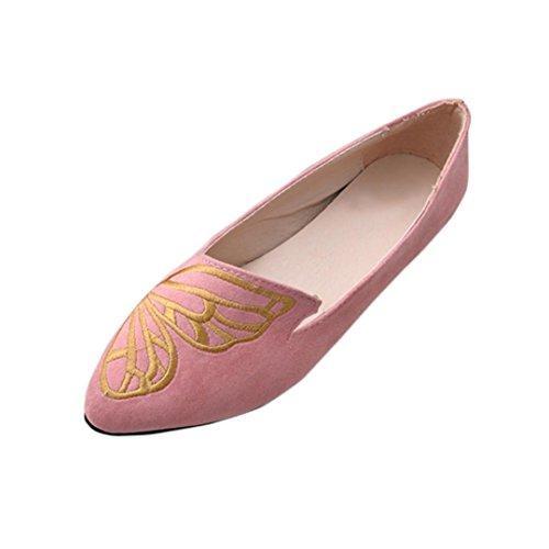 Byste donna bocca superficiale ricamo farfalla scamosciato piatto scarpe casual scarpe a punta scarpe singole elegante ballerine (39 eu, rosa)