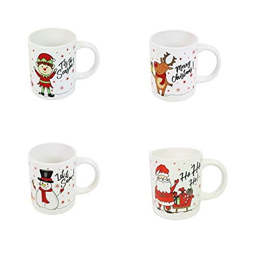 Christmas Mugs Set of 4 Festive Party Xmas Mugs Home Kitchen Tea Coffee Cups Christmas Tableware Xmas Decorations Mug Set Office Tea Cups Stoneware Mugs Festive Mugs Winter