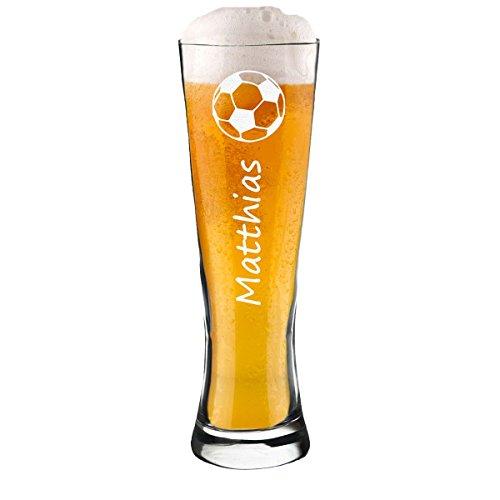 polar-effekt Modernes Weizenbierglas Personalisiert mit Gravur - Weizenglas - Geschenk-Idee zum Geburtstag - Motiv Fussball 0,5l