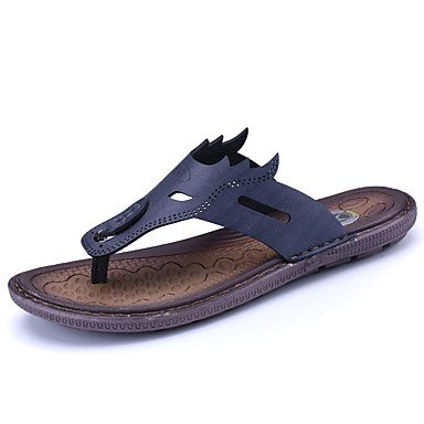Slippers & amp da uomo;Luce Estate Suole pelle bovina casuale Blu Nero sandali bianchi sandali US7 / EU39 / UK6 / CN39
