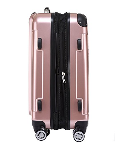 BEIBYE Zwillingsrollen 2048 Hartschale Trolley Koffer Reisekoffer in M-L-XL-Set in 17 Farben (Rosa Gold, XL) - 6