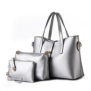 Le donne della moda casual solido Vintage pelle PU Messenger Borsa a tracolla/borse,Beige Lavender