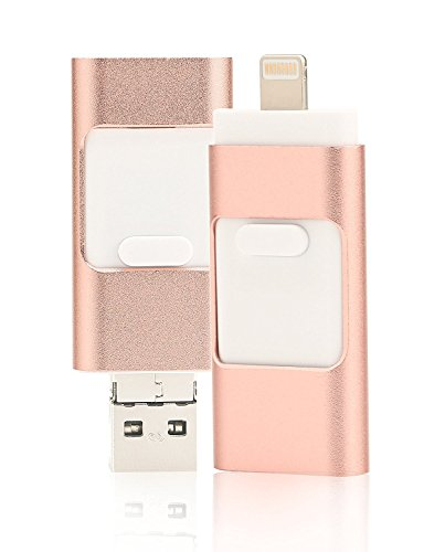Lápiz de memoria flash USB para iPhone 128 GB - Memoria externa, almacenamiento externo, expansión de memoria para Apple IOS y Android (128.00GB), color oro rosa