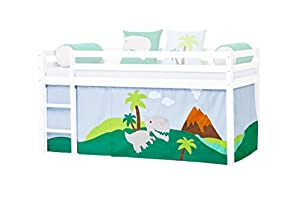 Hoppekids Dinosaur Curtain/Tent including Wire Rope for Half-High Bed, Fabric, Blue, 90 x 200 cm