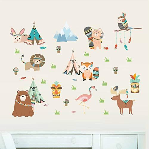58b9b450d216 xsongue Cartoon Owl Lion Bear Fox Indian Tribe Animals Wall Stickers for  Kids Rooms Nursery Home Decor PVC Wall Decals DIY Mural Art