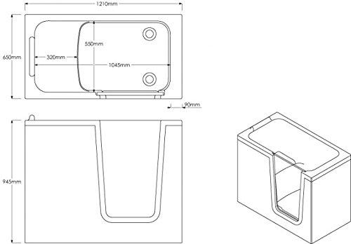 Badewanne 121×65 HODEEP – Acryl, mit Tür, Links