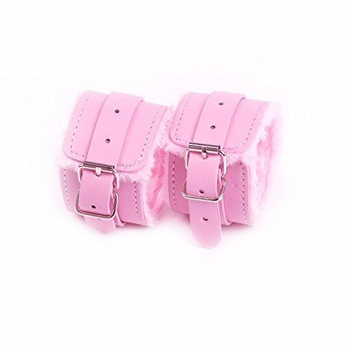Bosiwe Handschellen Spielzeug Handschellen Sex Spielzeug für Paare Leder Dübel Bondage Hand Fessel Pink