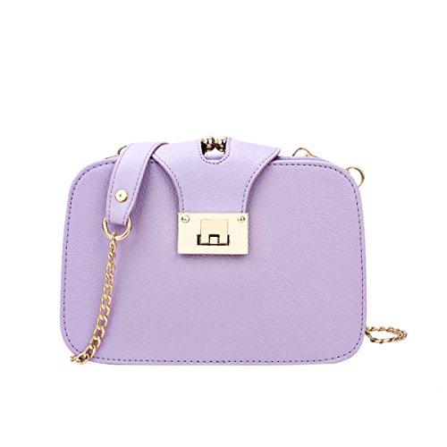 Neue Korea-Art- Und Weisewölbungs-Ketten-Damen-kleine Quadratische Schulter-Kurier-Beutel,White Purple