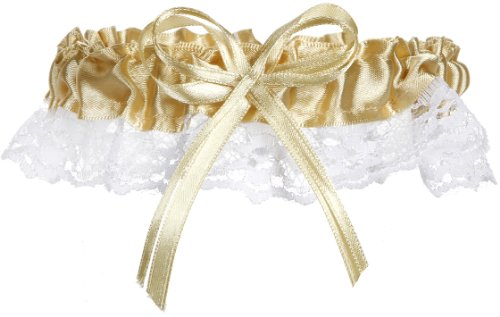 Darice Victoria Lynn Garter - Gold Satin and White Lace with Bow - 10 pieces