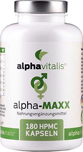 alpha MAXX mit L-Arginin + Maca + Tribulus Terrestris + Ginkgo + Ginseng - 180 Kapseln für aktive Männer