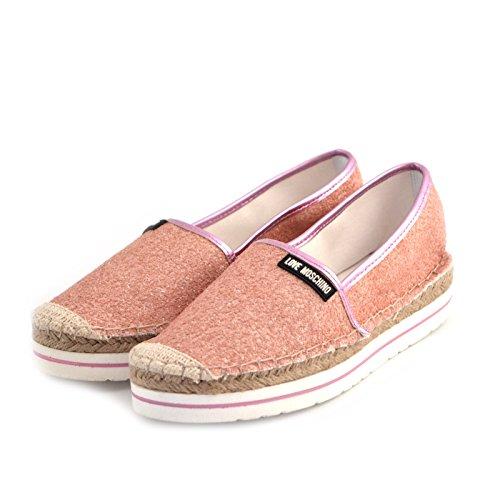 espadrillas donna Love Moschino JA10113 tessuto glitterato rosa gomma e rafia 40