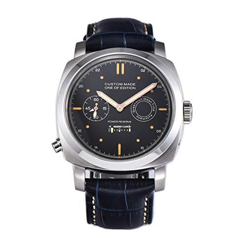 PARNIS-MM 9518 GMT Deutsche Edition Herrenuhr Automatik-Uhr 44mm Edelstahl Leder Mineralglas 5BAR Seagull ST25 Uhrwerk Gangreserve-Anzeige zweite Zeitzone