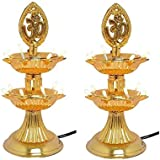 KERWA Premium 2 Layer New Electric Gold LED Bulb Lights Diya/Deep/Deepak For Pooja/Puja/Mandir Diwali Festival Decoration || (Pack Of 2) || S-03