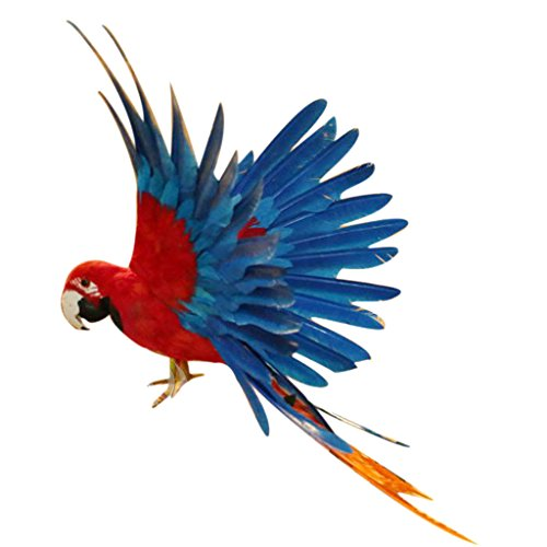 MagiDeal Künstliche Vögel Fliegen Papagei Realistische Vogel Garten Vögel Figur Dekor Ornamente - 15,7 Zoll Rot und Blau -