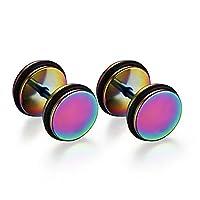 SanJiu Jewelry Men's Earrings Studs Set Round Circle Wheel Stainless Steel Earrings for Men Colourful