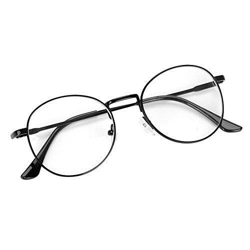 Brille Metallrahmen Brillengestelle Runde Pantobrille Fensterglas Nerdbrille Ohne Sehstärke Streberbrille Damen Herren Ebenenspiegel Brillefassung mit Nasenpad Winddicht Leicht Vintage 60 er Jahr