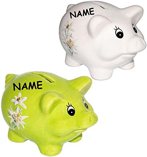 2 Stück _ Spardosen / Sparschweine -  Schwein mit Edelweiß  - incl. Name - stabile Sparbüchsen aus Keramik / Porzellan - Reisekasse / Urlaubskasse - Wandern..