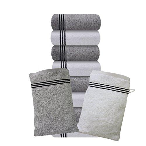 Küchen Handtücher Frottee Schwarz (Liness Stripes Waschlappen weiß grau 10 teiliges Waschlappen-Set weiß grau hellgrau Waschhandschuhe 16 x 21 cm 100% Baumwolle Frottee Qualität weich)