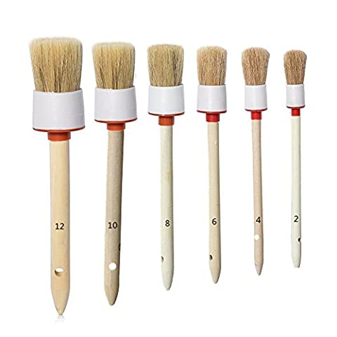 Car Detailing Brush Set, Motorcycle Automotive Boar Hair Detail Brush Cleaning Wheels, Engines, Interior, Air Vents, Emblems,Exterior, Leather,Trim,Seats, Set of 6