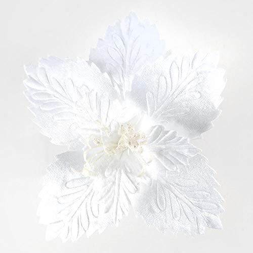 Stella di natale bianca per albero con clip - diametro fiore: 30 cm - lunghezza fiore: 23 cm - materiale: tessuto poliestere - caratteristica colore: bianco