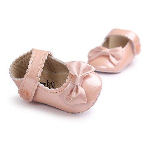 MiyaSudy Baby Mädchen PU Lederne Weiche Sole Bowknot Prinzessin Mary Jane Schuhe Rose Gold