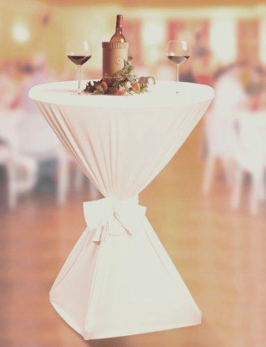 Stehtisch 60 x 145 cm creme Husse Jersey Stretch Stehtischhusse Stretchhusse Fest Tisch elastische Tischhusse dehnbar