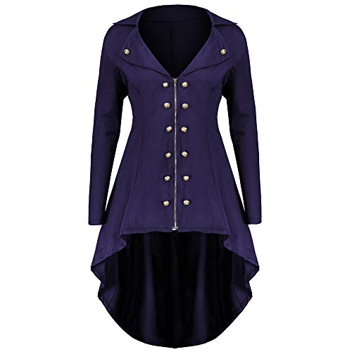 Kleid Minikleid Windbreaker Wintermantel MYMYG Plus Size unregelmäßigen Saum Mantel Pullover Jacke Tops Sweatshirt Knopf Reißverschluss Tunika (Lila,EU:40/CN-XL)