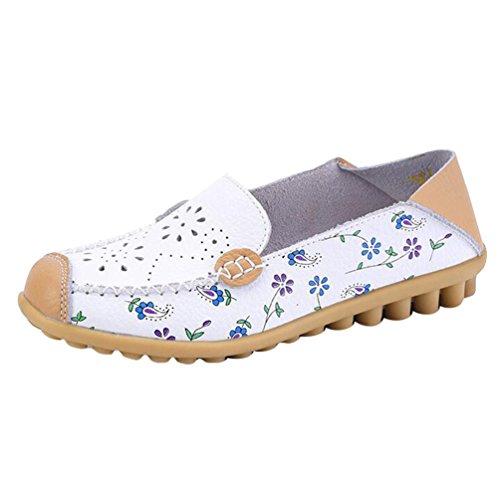 YAANCUN Femme Mocassins Cuir Creux Loafers Casual Bateau Chaussures De Flats Blanc