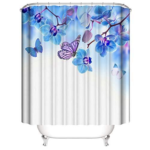 Xmiral Duschvorhänge Wasserdicht Schmetterling Gedruckte Polyester Badezimmer Gardinemit 12 Haken 180x180cm(B)