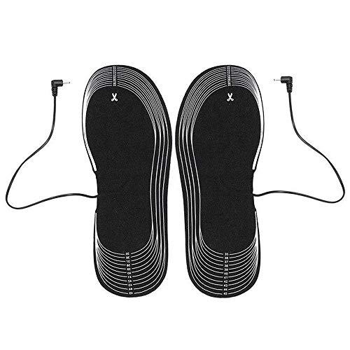 Qyoung 1Paar Batterie Elektrische Schuhheizung Einlegesohlen mit Intelligentem Thermostat, Beheizbare und Waschbar Winter Fußwärmer Thermosohle, Verschiedene Größen Freischneiden Wärmesohlen Fußbett