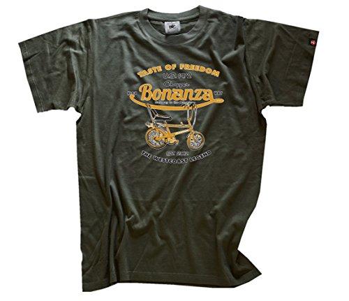 Shirtzshop Herren Taste of Freedom-Bonanza Fahrrad Chopper T-Shirt, Olive, XXL (Unten Grüne Taste Shirt Nach)