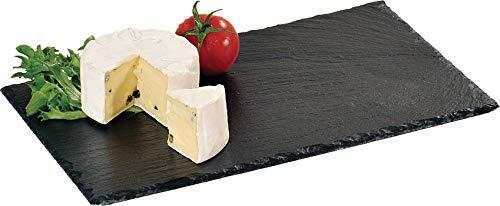 Kesper Buffet-Platte, Servierplatte, Schieferplatte, aus Schiefer, geölt, Maße: 300 x 200 x 10 mm, schwarz -