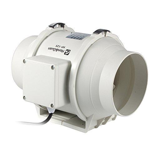 Fan-gebläse-duct Duct (Hon&Guan 125mm Rohrventilator Mischdurchfluss Rohrlüfter mit Starker Abluft System 167CFM für Büro , Bad , Halle , Hydroponic Zimmer)
