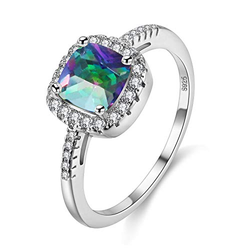 Uloveido Platin überzogener quadratischer Solitaire-Verlobungsring für Frauen, Art- und Weisekissen-Schnitt-Ring-Damen (Mehrfarben, Größe 57) Y3100 (Platin-blau Saphir-ring)