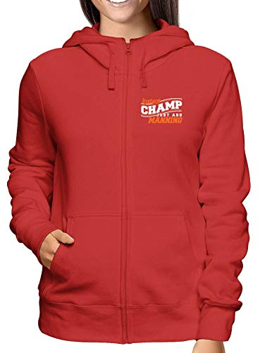 T-Shirtshock Sweatshirt Damen Hoodie Zip Rot GEN0508 INSTANT Champ JUST ADD Manning Champ Zip Hoodie