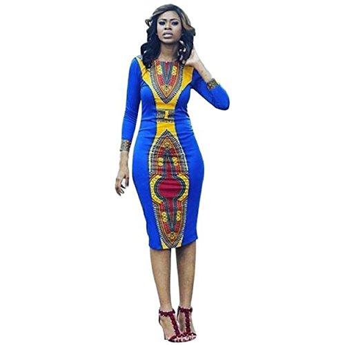 Yogogo Frauen Langarm-Mode, Afrikanischer Druck-Kleid beiläufige gerade Print Kaftan Kleid (L) (Kaftan Afrikanischer)