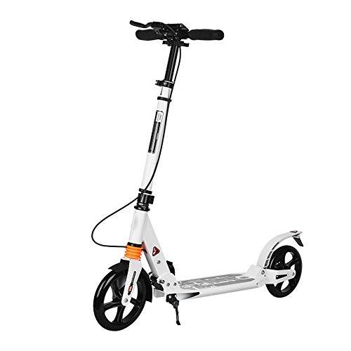 LJJYN Fußroller 2 große PU-Räder 190 mm Faltbar Geeignet für Jugendliche/Erwachsene Stadtroller Extrem wettbewerbsfähiger Roller,White,90 * 37 * 106cm
