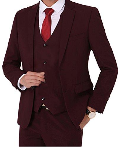 Herren Business Anzug 2-Knopf-Anzugjacke Hochzeit Weste mit Anzughose Rosa