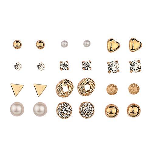 Meclelin 12 Paar Verschiedene Mehrere Ohrstecker Schmuck Set mit Karte für Frauen Mädchen Einfache Hoop Ohrring Set