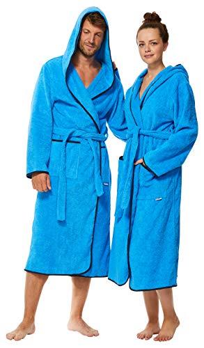 Sowel® Bademantel Damen und Herren, 100% Baumwolle, Kapuze, Extra Lang, Flauschiges Frottee, Premium, M, Blau/Navy