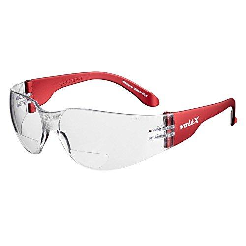 voltX 'Grafter' BIFOKALE Leichtgewichts Industrie Lesen Schutzbrille, CE EN166F Zertifiziert/Sportbrille für Radler (KLAR +3.0 Dioptrie) - Safety Reading Glasses