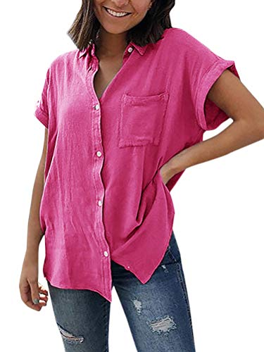 Onsoyours Damen Bluse Sommer Top Elegant Oberteile Hemdbluse Button Down Shirts Lose Freizeit Kurzarm Shirt mit Brusttaschen Rosa DE 38 Striped Bow Tie