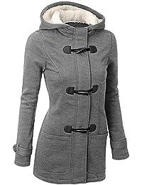 GHYUGR Abrigos con Horn Botones Mujer Invierno Elegantes Slim Chaqueta con Capucha Lana Capa Jacket Sudadera Pullover Outwear Parka