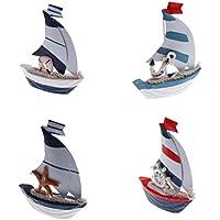 Preisvergleich für Baoblaze 4er-Set Holz Segelschiff Maritim Meer Schiff Boot Modellschiff