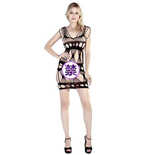 YUXINXIN Neue europäische und amerikanische sexy Versuchung sexy Dessous große Netzschlinge offene Strümpfe hohlen transparenten einteiligen Schlafanzug (Color : Black, Size : Einheitsgröße)