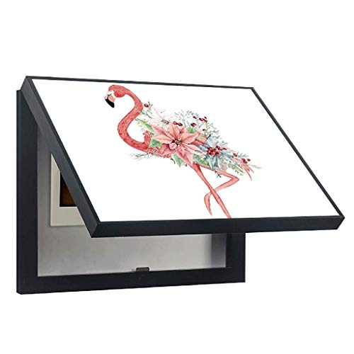 Cartoon Pink Flamingo Meter Box Cover Malerei Multimedia Junction Box Wohnzimmer Wand Fleck Risse Abdecktapeten Schwachstrom Blocking Distribution Box (Color : White, Size : (60 * 50cm 50 * 40cm)) -