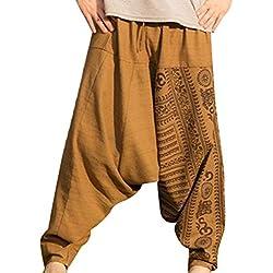 Hombre Pantalones Harem - Cómoda Cintura Elástica Pantalones con Cintura Moda Estampado Floral Casuales Yoga Hippies Pantalones Tallas Grandes M-3XL
